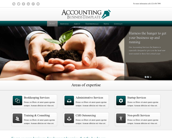 laptop screenshot WordPress theme 'Accounting WordPress theme'