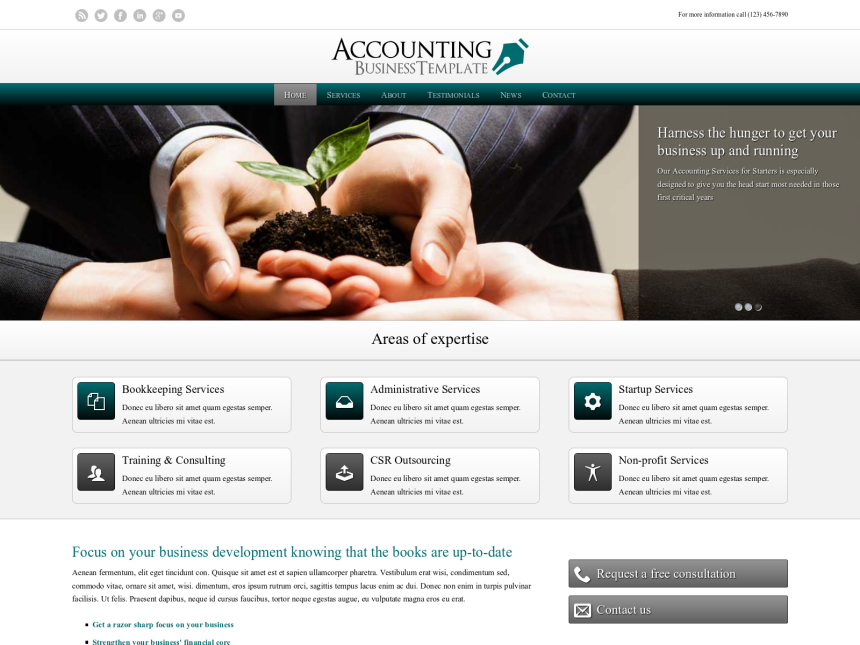 desktop screenshot of the WordPress theme 'Accounting WordPress theme'