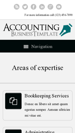 mobile phone screenshot WordPress theme 'Accounting WordPress theme'