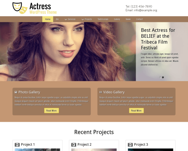 Actress Wordpress Theme