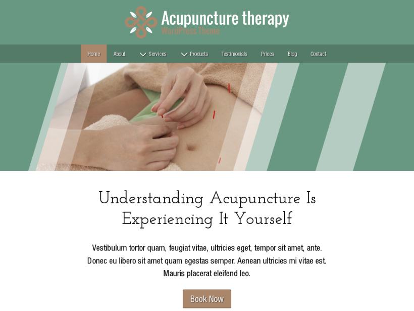 landscape tablet screenshot of WordPress theme 'Acupuncture Therapy Wordpress Theme'
