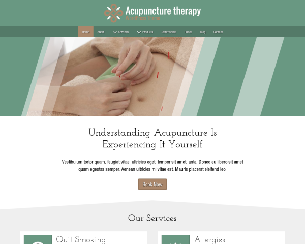 Desktop screenshot of the Acupuncture Therapy Wordpress Theme