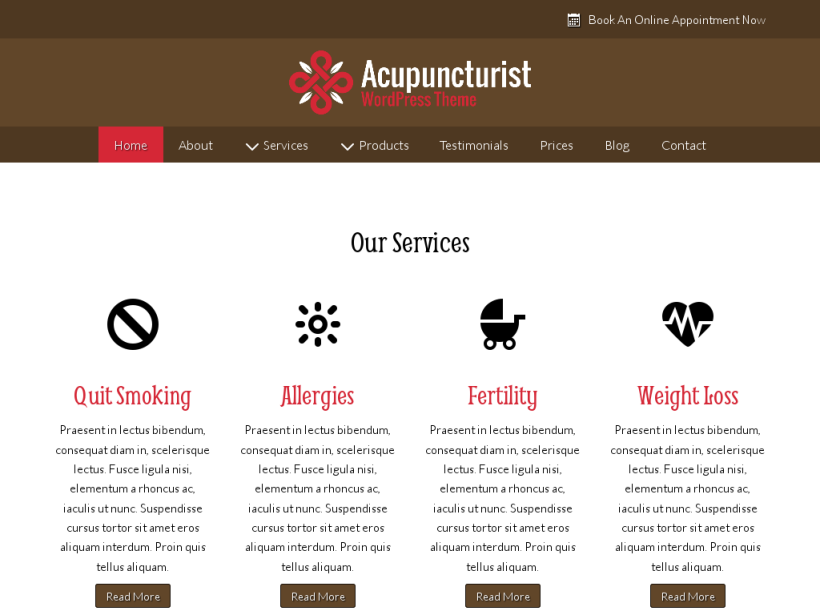 landscape tablet screenshot of WordPress theme 'Acupuncturist Wordpress Theme'