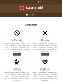 tablet screenshot WordPress theme 'Acupuncturist Wordpress Theme'