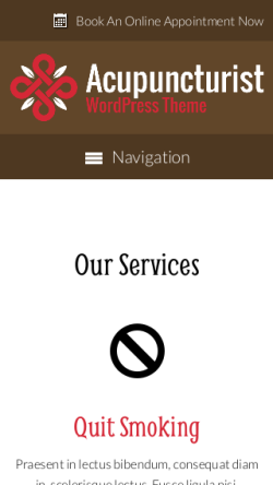 mobile phone screenshot WordPress theme 'Acupuncturist Wordpress Theme'