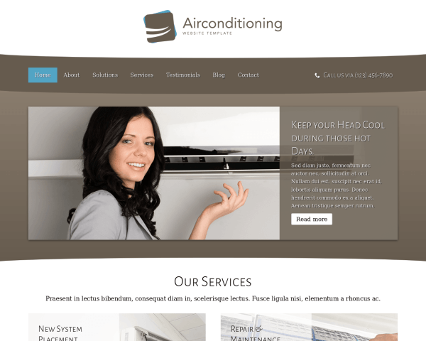 Air Conditioning Website Template thumbnail (desktop screenshot)