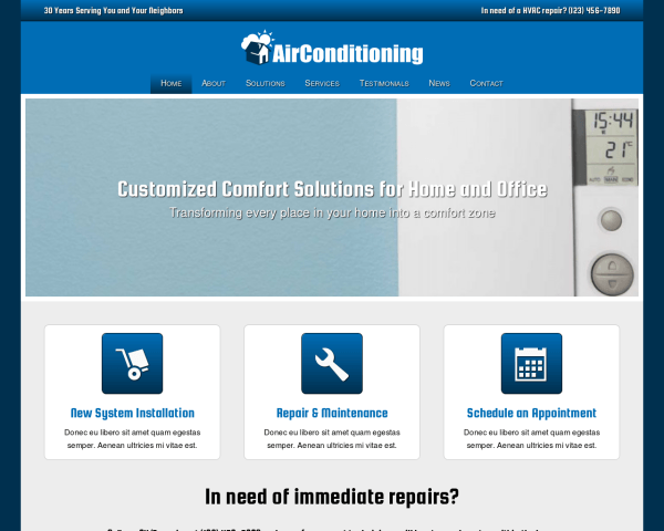 Desktop screenshot of the Air Conditioning Wordpress Theme