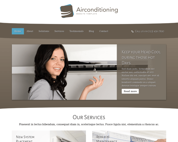 laptop screenshot WordPress theme 'Air Conditioning Website Template'