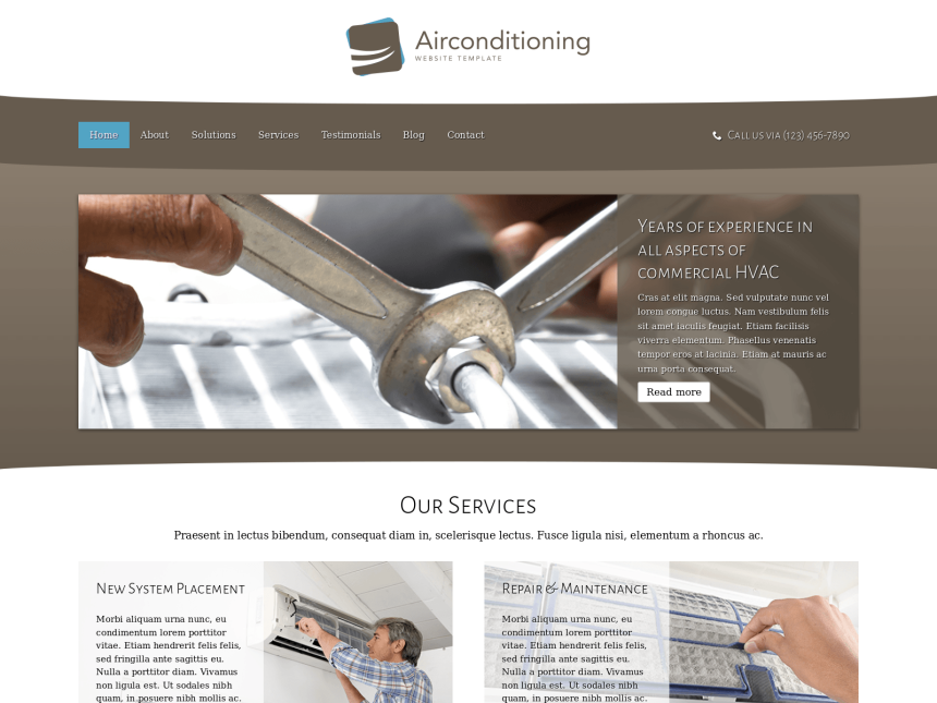 desktop screenshot of the WordPress theme 'Air Conditioning Website Template'