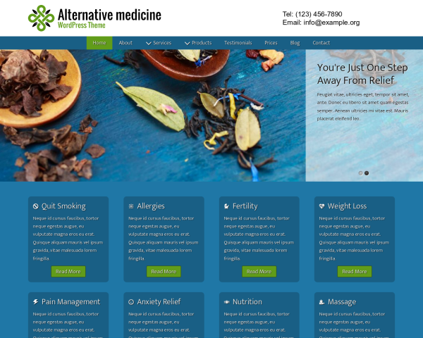Desktop screenshot of the Alternative Medicine Wordpress Theme