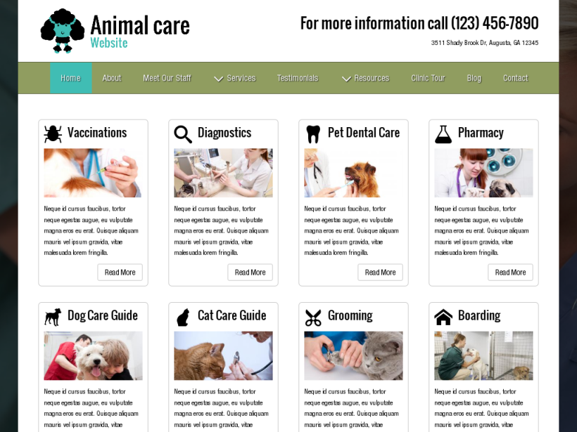 landscape tablet screenshot of WordPress theme 'Animal Care Website'