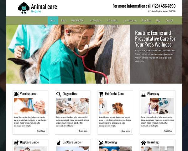Animal Care Website thumbnail (desktop screenshot)