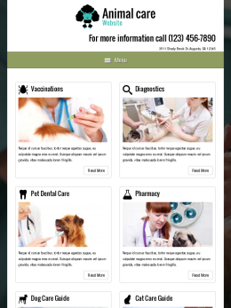tablet screenshot WordPress theme 'Animal Care Website'