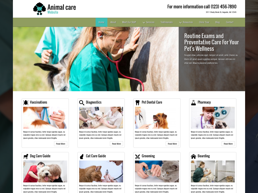 desktop screenshot of the WordPress theme 'Animal Care Website'