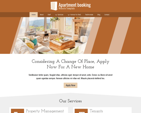 image representation of the Apartment Booking Website Template