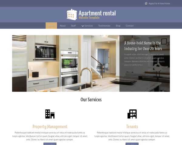 image representation of the Apartment Rental Website Template