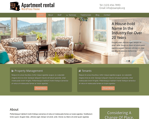 image representation of the Apartment Rental Wordpress Theme