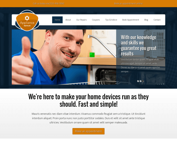 Desktop screenshot of the Appliance Repair Wordpress Theme