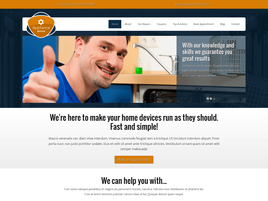 desktop screenshot of the WordPress theme 'Appliance Repair WordPress theme'
