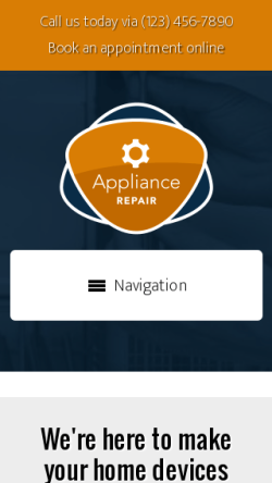 mobile phone screenshot WordPress theme 'Appliance Repair WordPress theme'