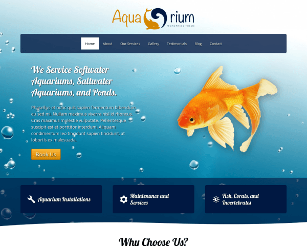 Desktop screenshot of the Aquarium Wordpress Theme