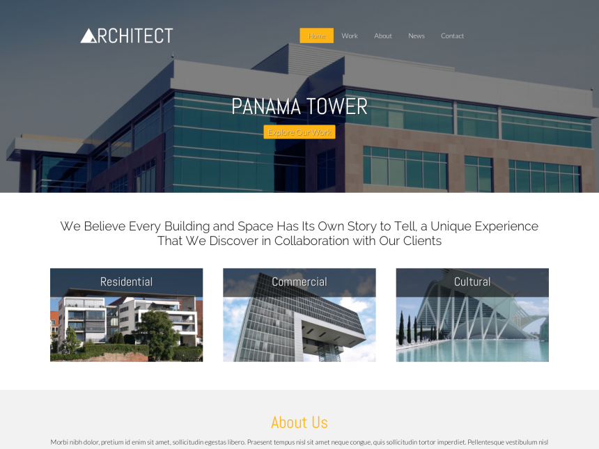 desktop screenshot of the WordPress theme 'Architect WordPress theme'
