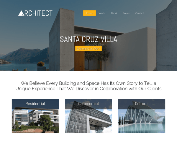 Architect WordPress theme thumbnail (desktop screenshot)
