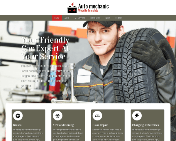 Desktop screenshot of the Auto Mechanic Website Template