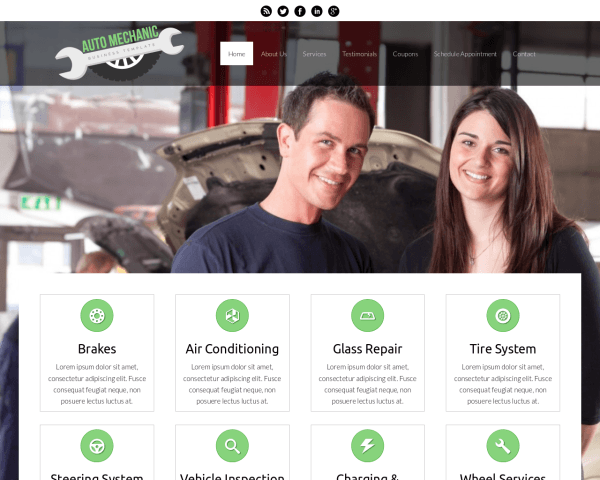 Desktop screenshot of the Auto Mechanic Wordpress Theme