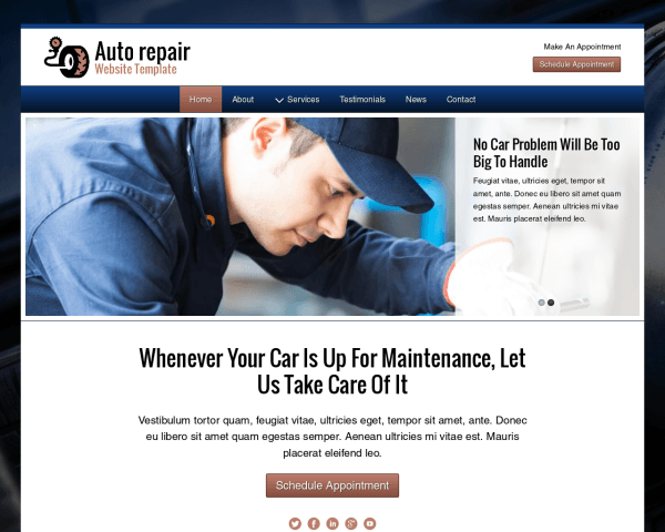 Desktop screenshot of the Auto Repair Website Template