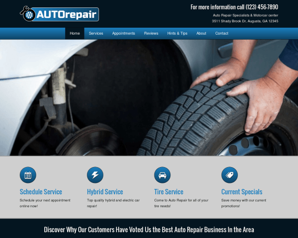 Desktop screenshot of the Auto Repair Wordpress Theme