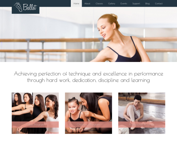 laptop screenshot WordPress theme 'Ballet WordPress theme'