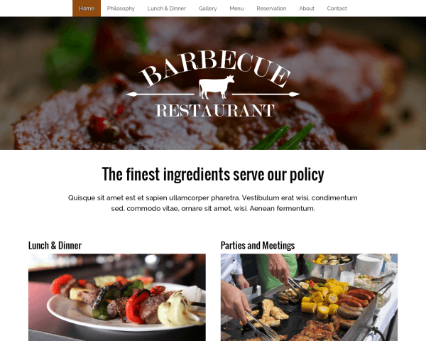 Desktop screenshot of the Bbq Restaurant Wordpress Theme