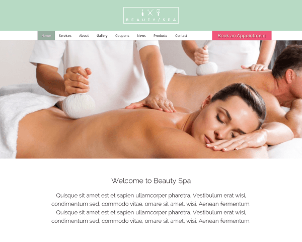Desktop screenshot of the Beauty Spa Wordpress Theme