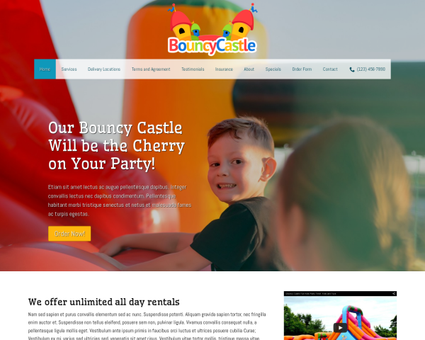 laptop screenshot WordPress theme 'Bouncy Castle WordPress Theme'