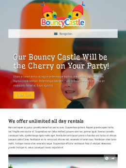 tablet screenshot WordPress theme 'Bouncy Castle WordPress Theme'