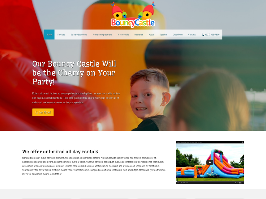 desktop screenshot of the WordPress theme 'Bouncy Castle WordPress Theme'