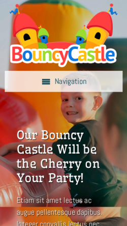mobile phone screenshot WordPress theme 'Bouncy Castle WordPress Theme'