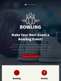 tablet screenshot WordPress theme 'Bowling WordPress Theme'