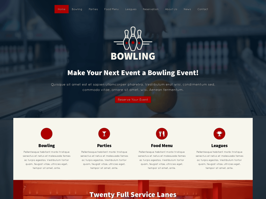 desktop screenshot of the WordPress theme 'Bowling WordPress Theme'
