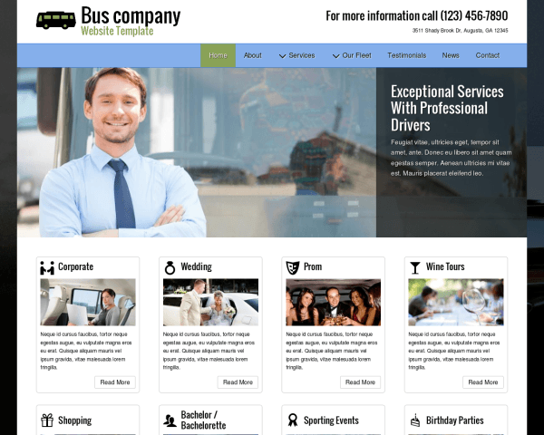 image representation of the Bus Company Website Template