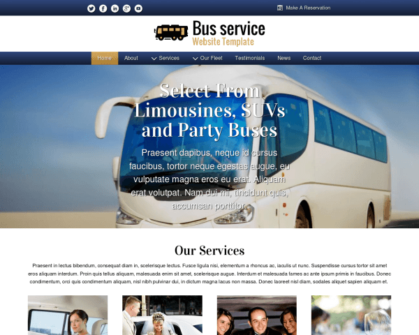 Desktop screenshot of the Bus Service Website Template