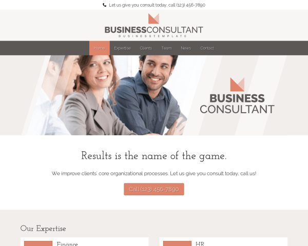 Desktop screenshot of the Business Consultant Wordpress Theme