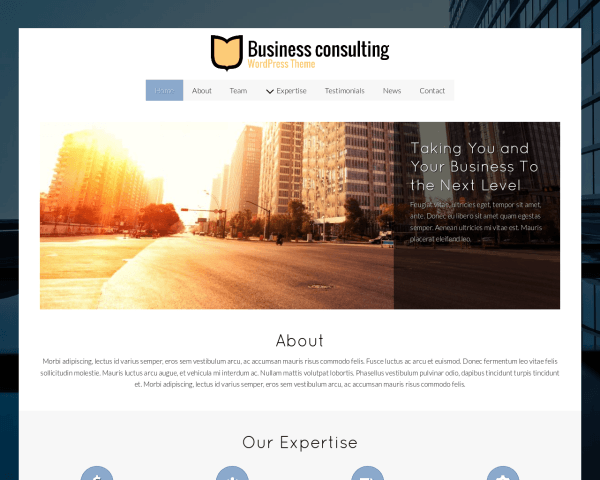 Desktop screenshot of the Business Consulting Wordpress Theme