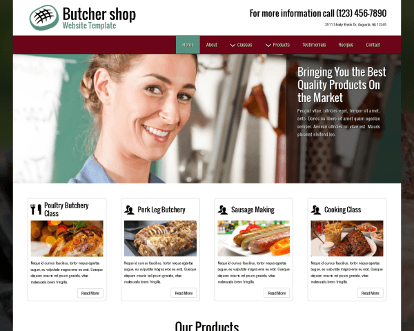 Desktop screenshot of the Butcher Shop Website Template