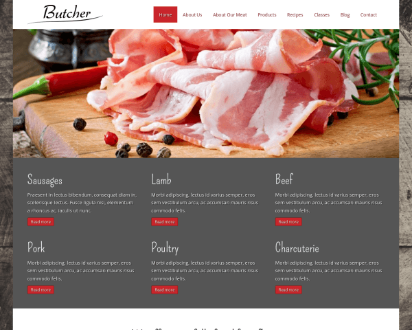Desktop screenshot of the Butcher Wordpress Theme
