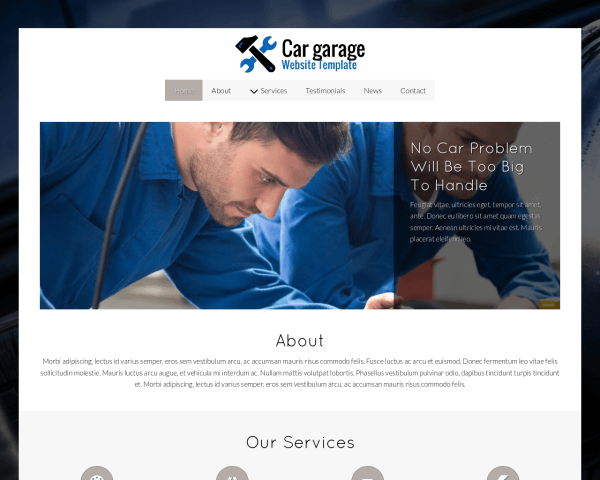 Desktop screenshot of the Car Garage Website Template
