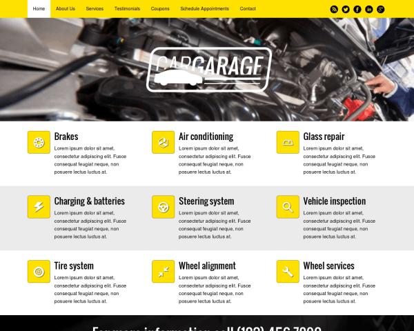 Desktop screenshot of the Car Garage Wordpress Theme