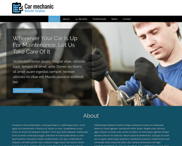 Desktop screenshot of the Car Mechanic Website Template