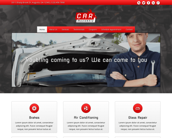 Desktop screenshot of the Car Mechanic Wordpress Theme